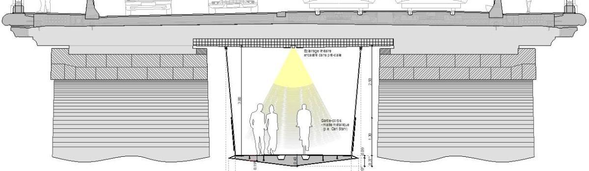 Dwarsdoorsnede van hoe de voetgangers- en fietsersbrug is opgehangen tussen de pijlers van de
