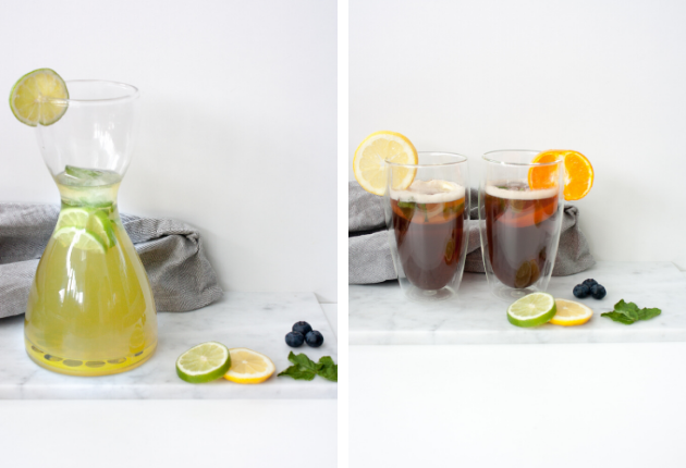 Home made shaken ice tea met 50% minder suiker