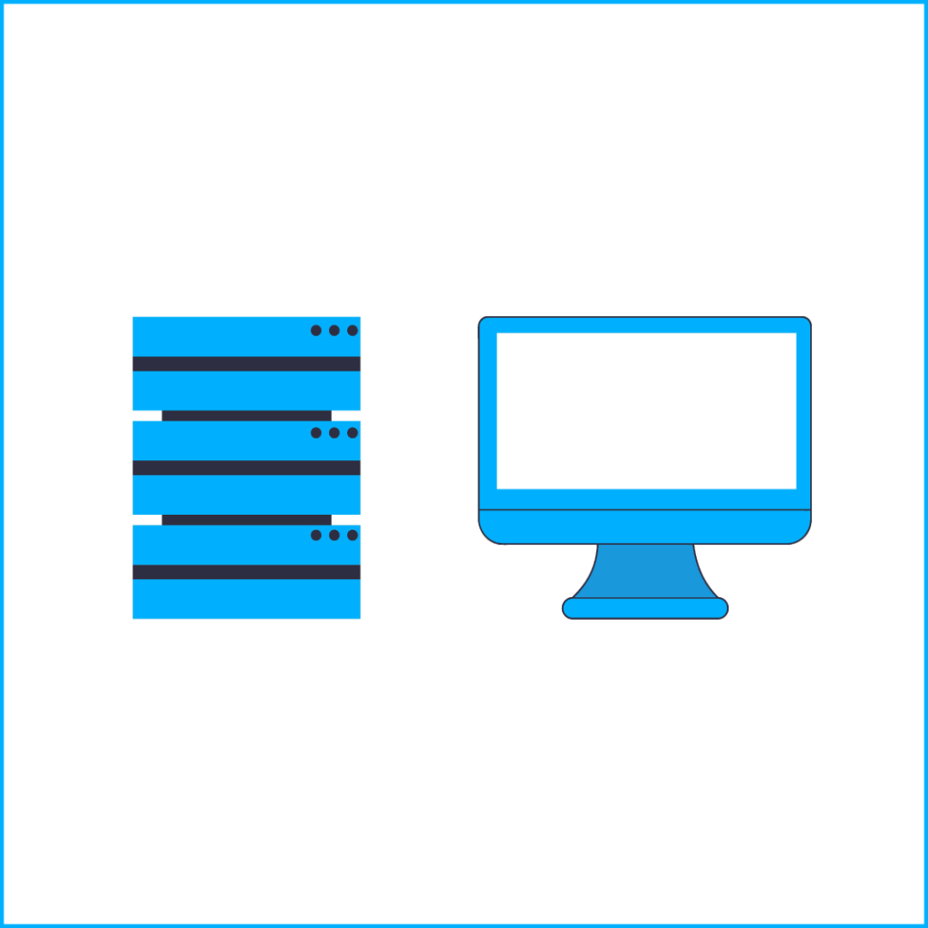 Server and Mac Monitor in blue, Cyber Security Explainer Video, Storyboard Frame
