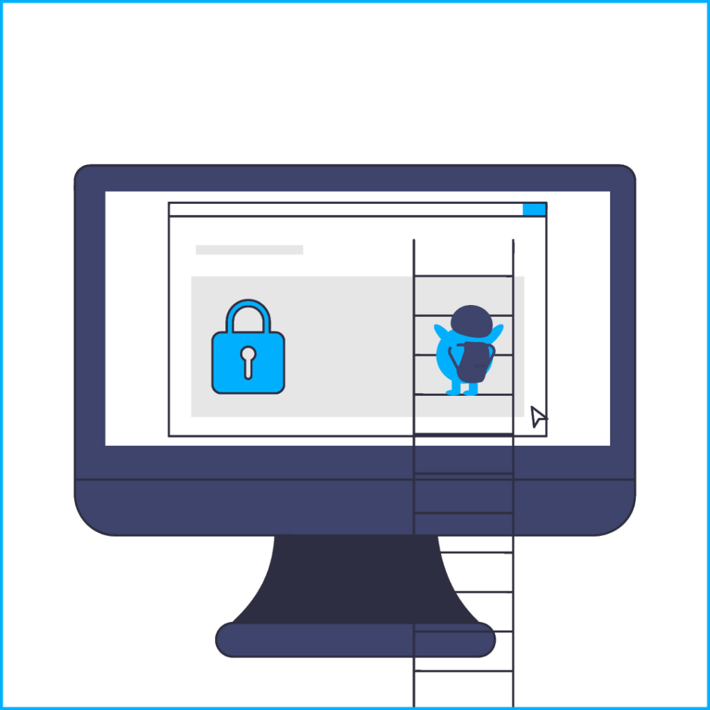 Dark blue computer screen with browser window and light blue lock on the left, ladder in front of screen with tiny light blue blob person with backpack climbing, back to viewer