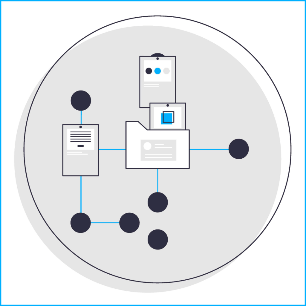 """Gray circle with offset dark blue ring holding one light blue and multiple dark blue dot inside, title """"collection"""", folder in centre, files moving into folder"""