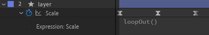 After Effects screenshot: adding loopOut() to layer property