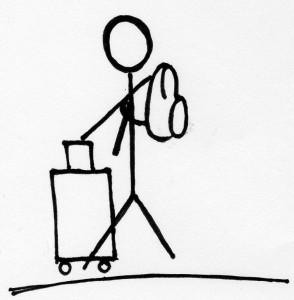 Ein großer Koffer und ein kleiner Rucksack
