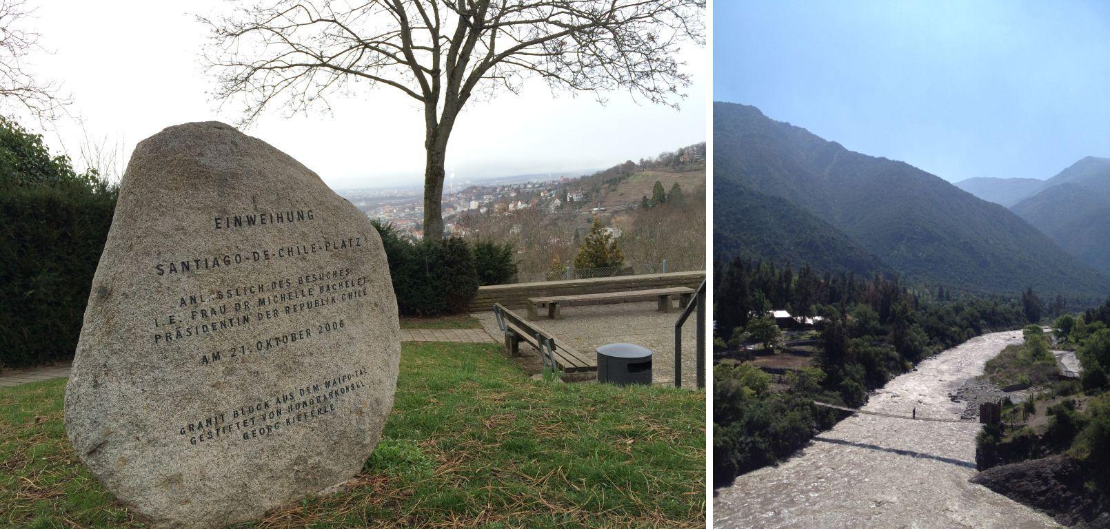 Granitblock Santiago-de-Chile-Platz und Maipo-Tal