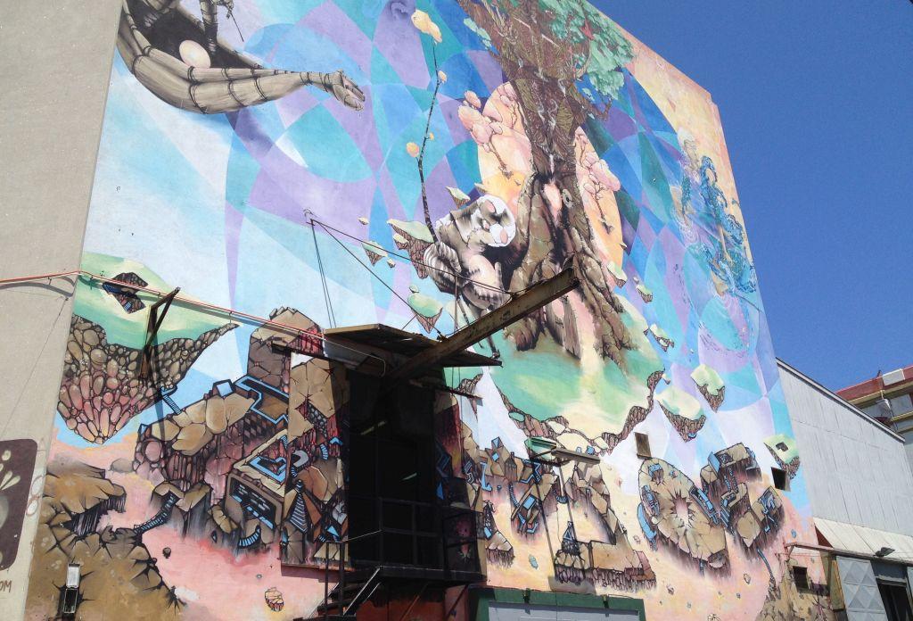 Streetart in Valparaíso, bemaltes Lagerhaus