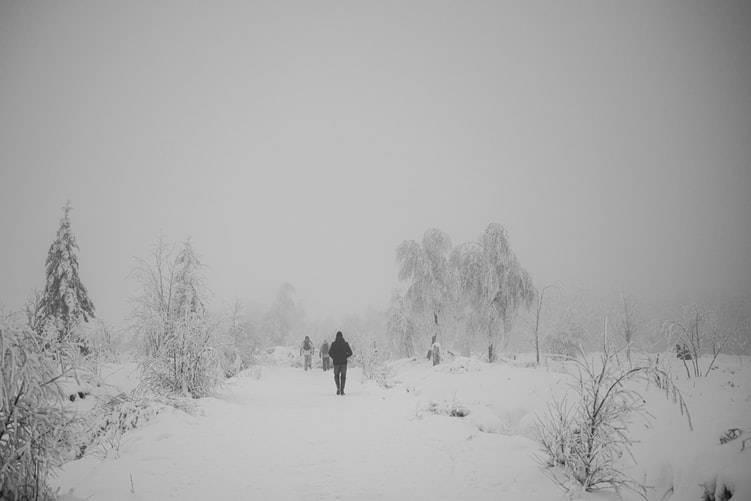 Personer på promenad i vinterlandskap med mycket snö