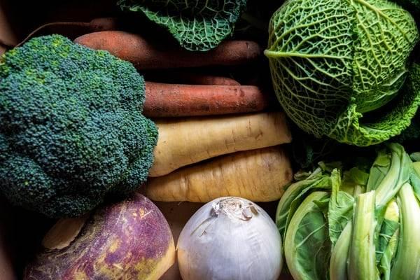 rotfrukter och grönsaker ligger tillsammans, broccoli, morötter, palsternacka, grönkål, vitkål, savoykål, blomkål, rotcelleri, lök och vitlök