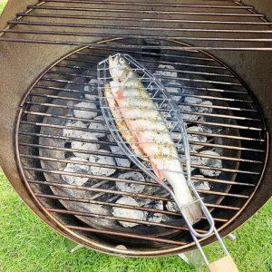 Närbild på fisk som grillas i Bluegaz Fiskhalster på Höfats Cone Kolgrill