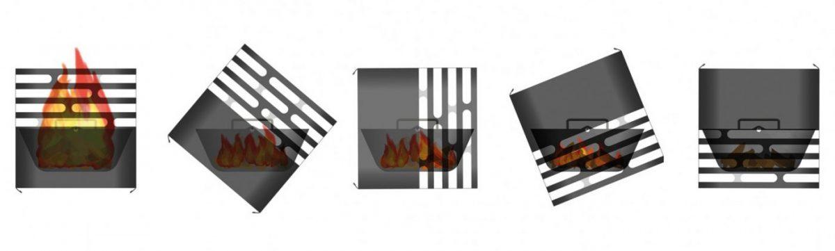 Ritning som visar 5 steg för att släcka Höfats Cube Eldkorg & Kolgrill rost