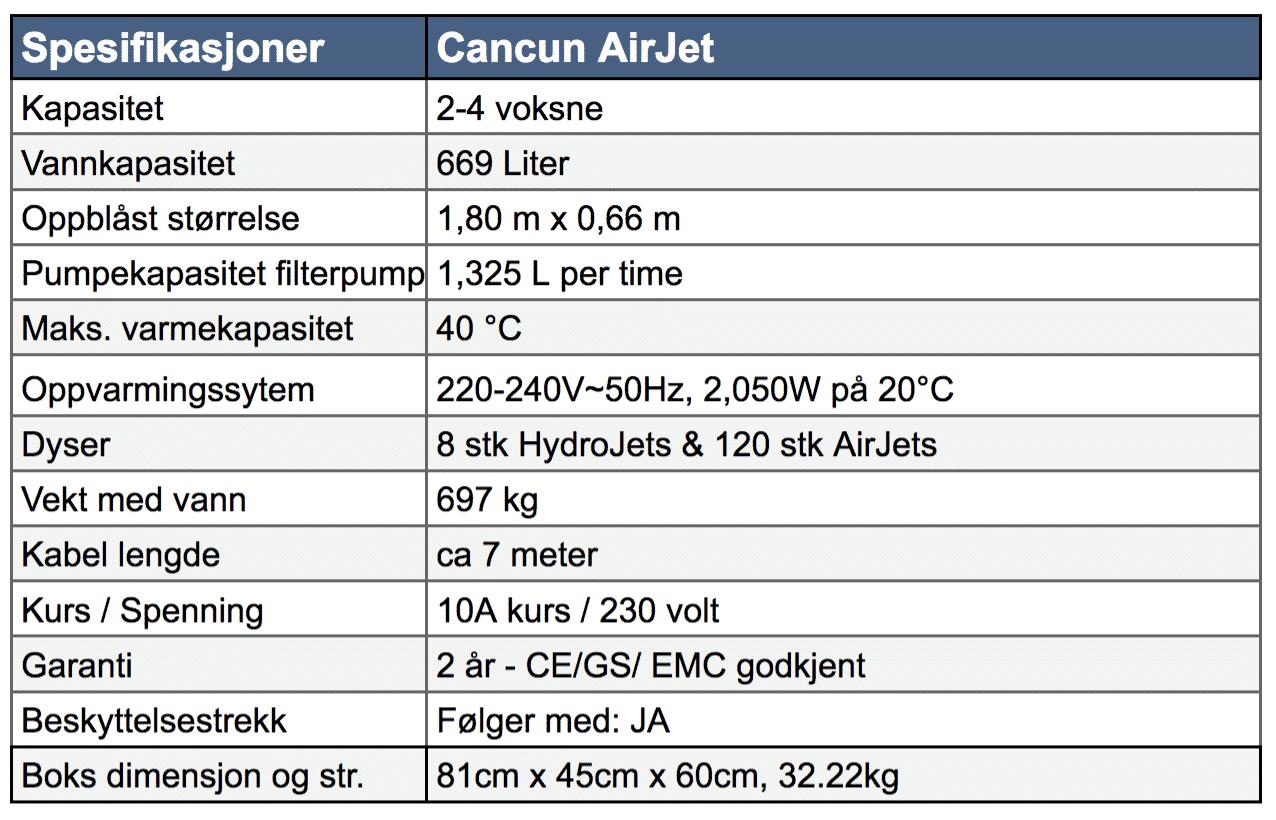 Spesifikasjoner Lay-Z-Spa Cancun AirJet