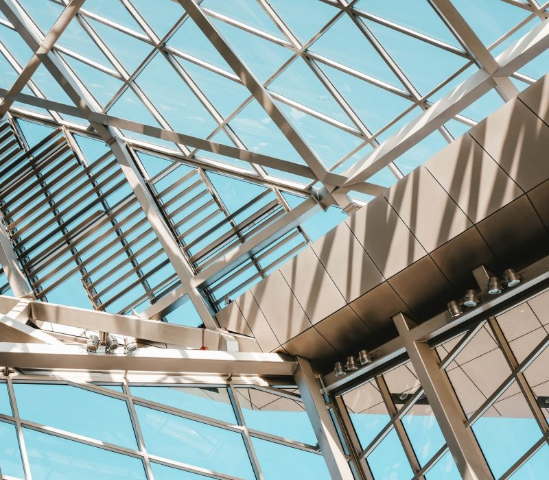 low-angle-shot-from-inside-of-a-modern-building-made-of-3137054
