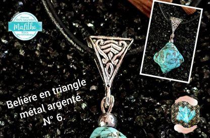 Attache, belière forme triangle n°6 en métal argenté vieilli création MaLitho de chez Bijoux, pierres et bien-êtr