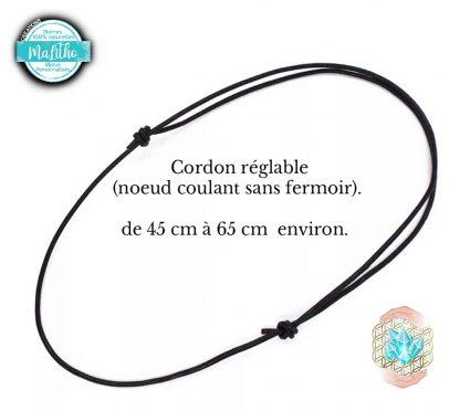cordon cuir noir nœud coulant sans fermoir création MaLitho de chez Bijoux, pierres et bien-être