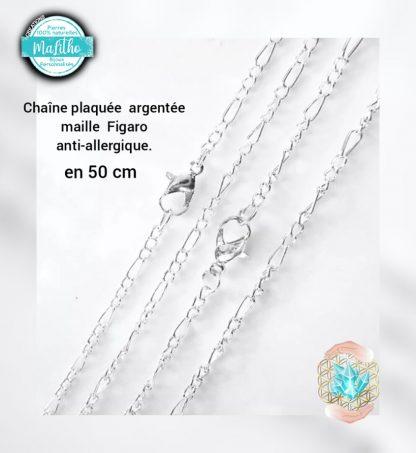 chaine argentée en 50 cm maille figaro 50 cm création MaLitho de chez Bijoux, pierres et bien-être