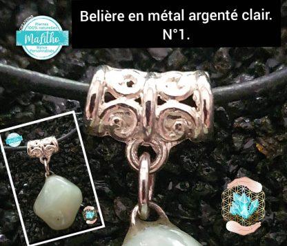 Attache, belière N°1 en métal argenté clair création MaLitho de chez Bijoux, pierres et bien-être.