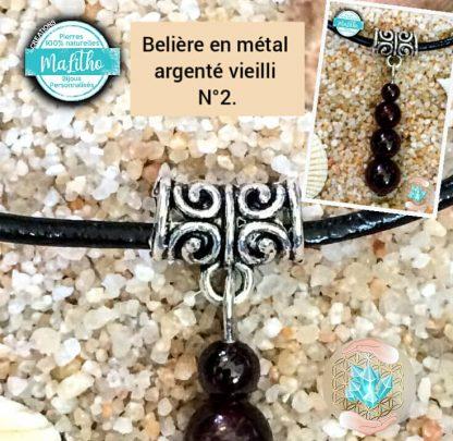 Attache, belière N° 2 en métal argenté vieilli création MaLitho de chez Bijoux, pierres et bien-être .
