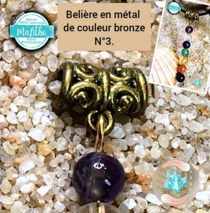 Attache, belière N° 3 en métal couleur bronze vieilli création MaLitho de chez Bijoux, pierres et bien-être