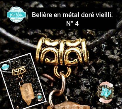 Attache, belière N° 4 en métal doré vieilli création MaLitho de chez Bijoux, pierres et bien-être