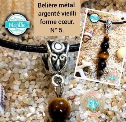 Attache, belière n° 5 en forme de cœur en métal argenté vieilli création MaLitho de chez Bijoux, pierres et bien-être