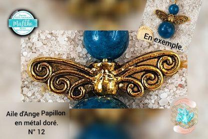 Aile d'ange dorée papillon personnalisée N° 12 création MaLitho de chez Bijoux, pierres et bien-être