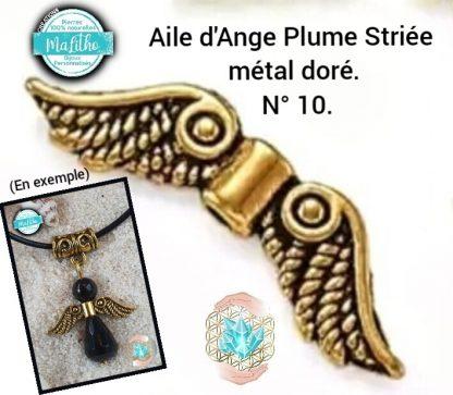 Aile d'ange dorée personnalisée N° 10 plume striée création MaLitho de chez Bijoux, pierres et bien-être