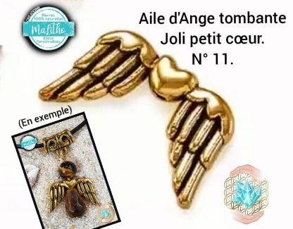 Aile d'ange dorée tombante personnalisée N° 11 joli petit cœur création MaLitho de chez Bijoux, pierres et bien-être
