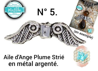Aile d'ange personnalisée N° 5 plume striée création MaLitho de chez Bijoux, pierres et bien-être