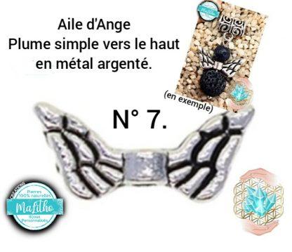 Aile d'ange personnalisée N° 7 plume simple vers le haut création MaLitho de chez Bijoux, pierres et bien-être