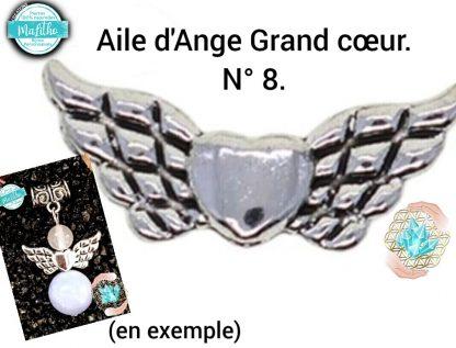 Aile d'ange personnalisée N° 8 grand cœur création MaLitho de chez Bijoux, pierres et bien-être