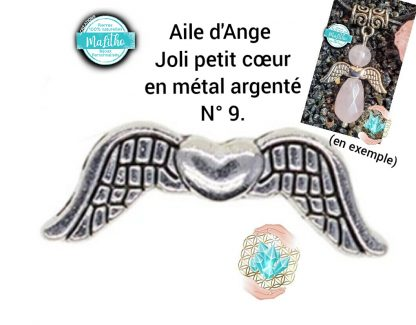 Aile d'ange personnalisée N° 9 joli petit cœur création MaLitho de chez Bijoux, pierres et bien-être