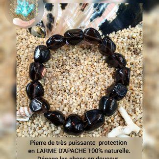 Bracelet de PROTECTION en LARME D'APACHE (OBSIDIENNE FUMÉE) de chez Bijoux pierres et bien-être