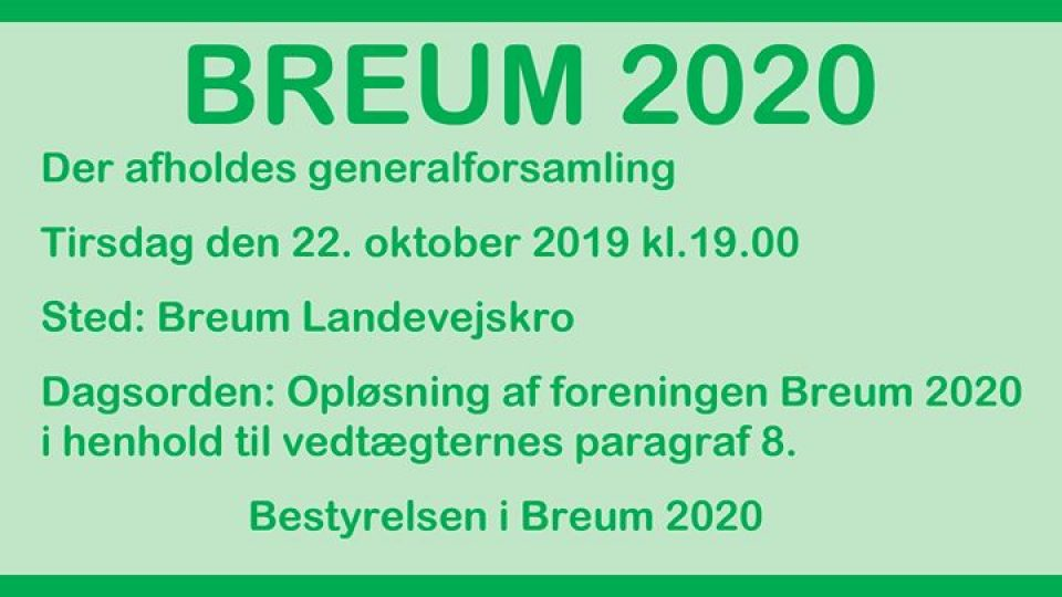Generalforsamling – Breum 2020