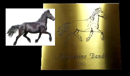 Exempel häst oxiderad mässing