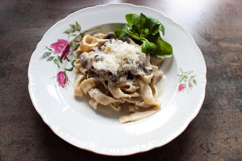 Meal with home-made pasta