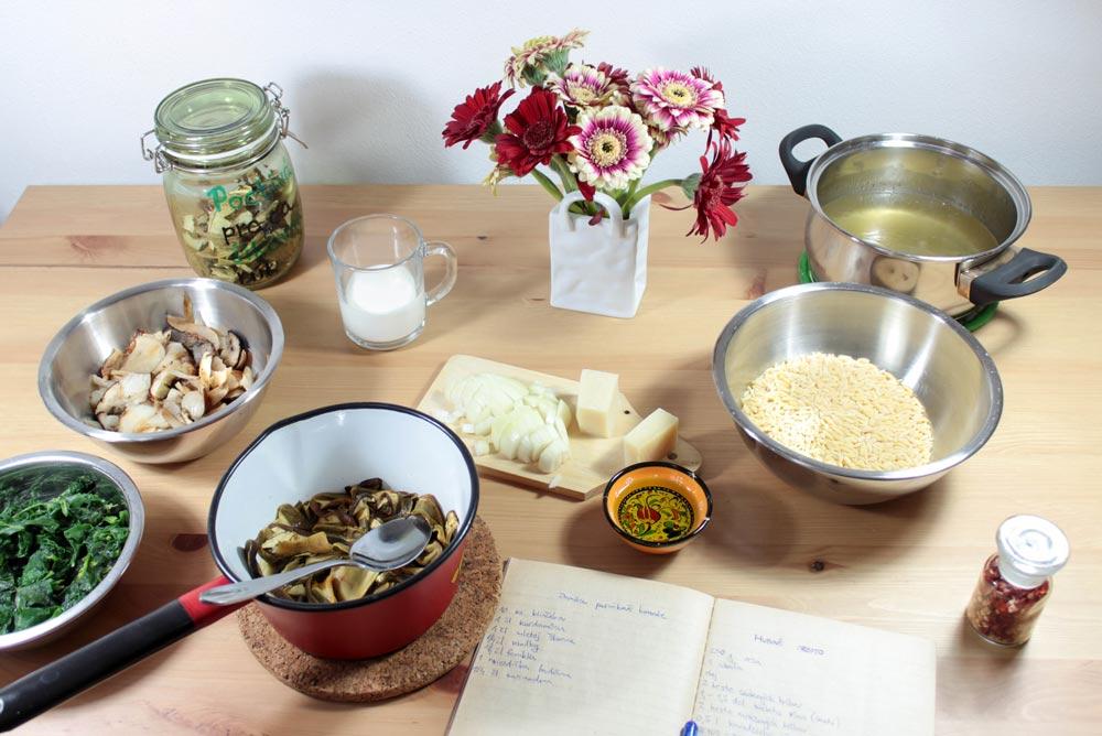 Ingrediencie na hubové orzoto