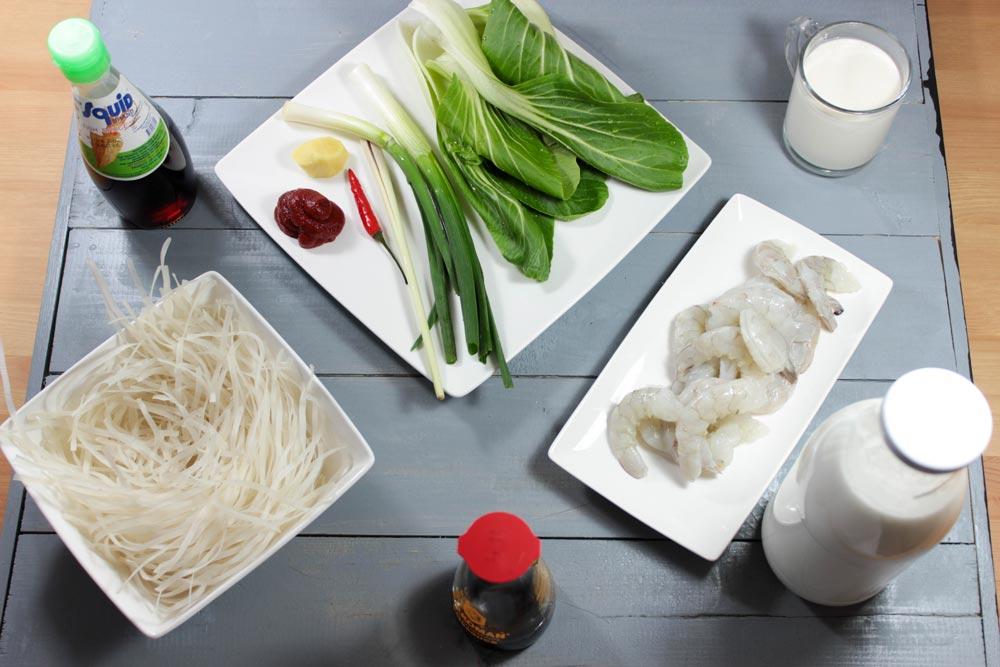 Ingrediencie na krevetovú polievku