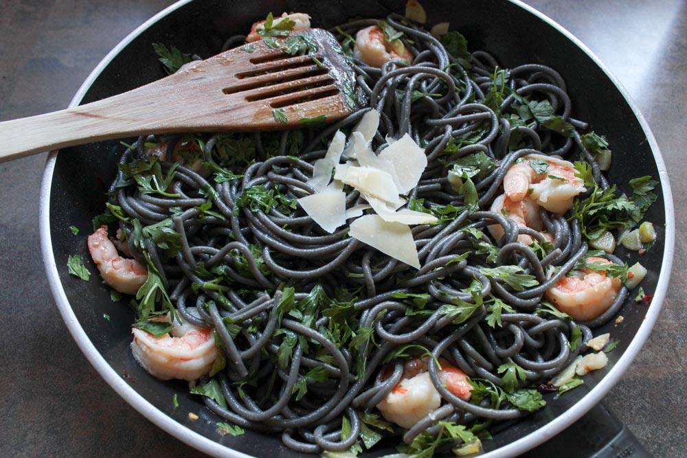 Squid ink pasta in pan