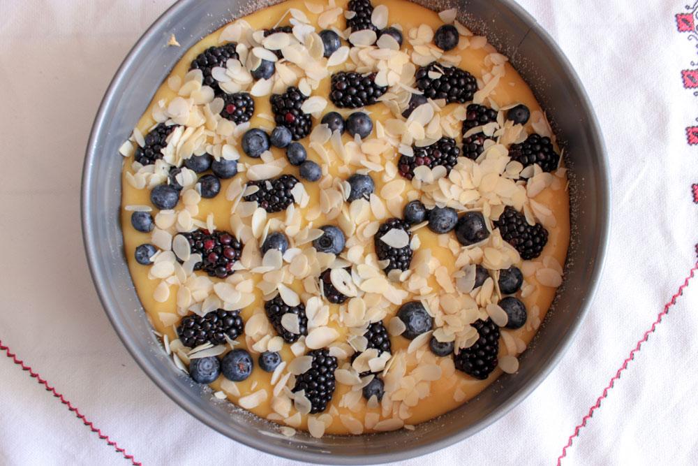 Blackberry cake before baking