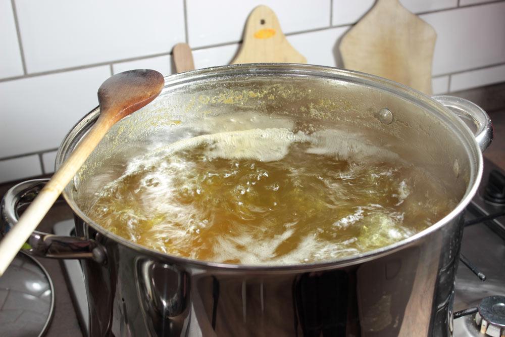 Boiling elderflower syrup