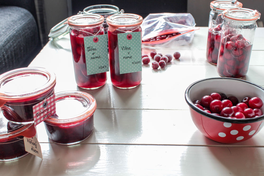 Sour cherries in jars
