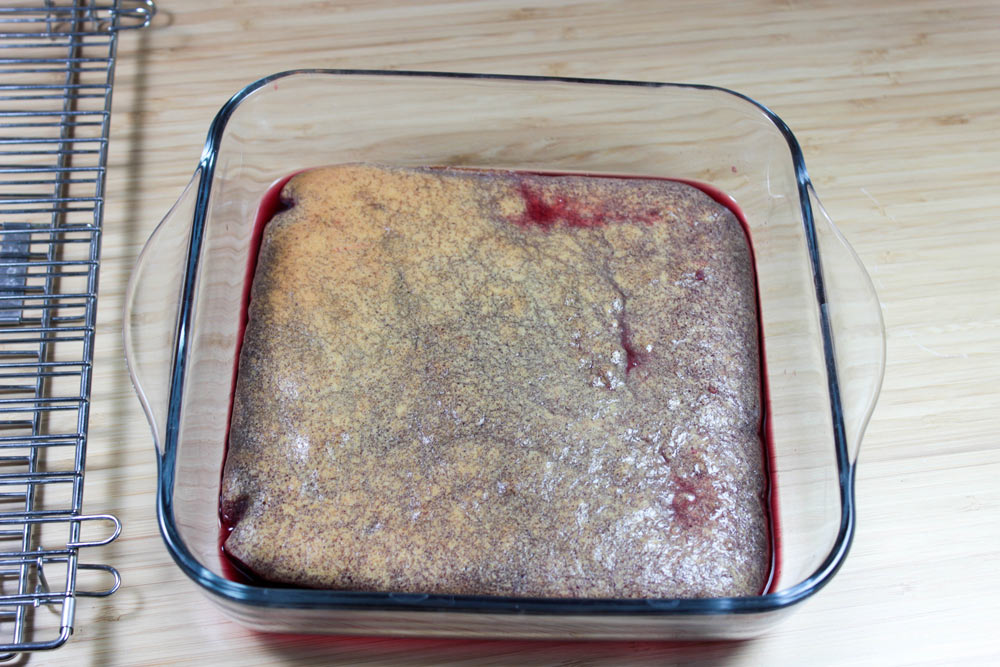 Soaking cake in punch syrup