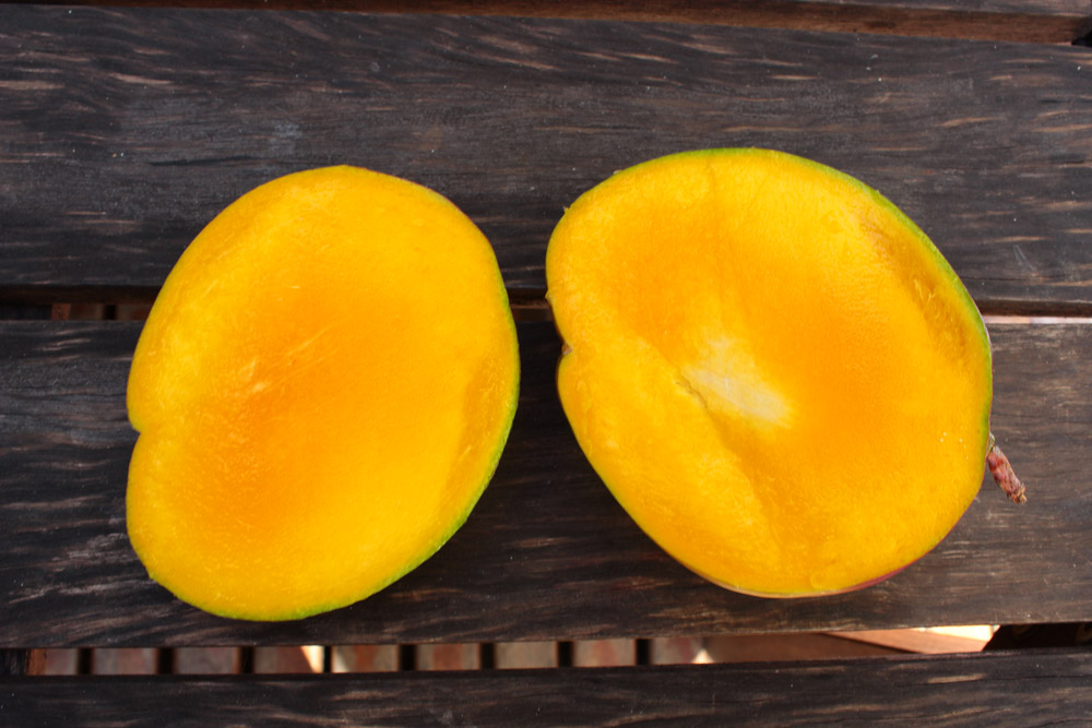 Halved mango