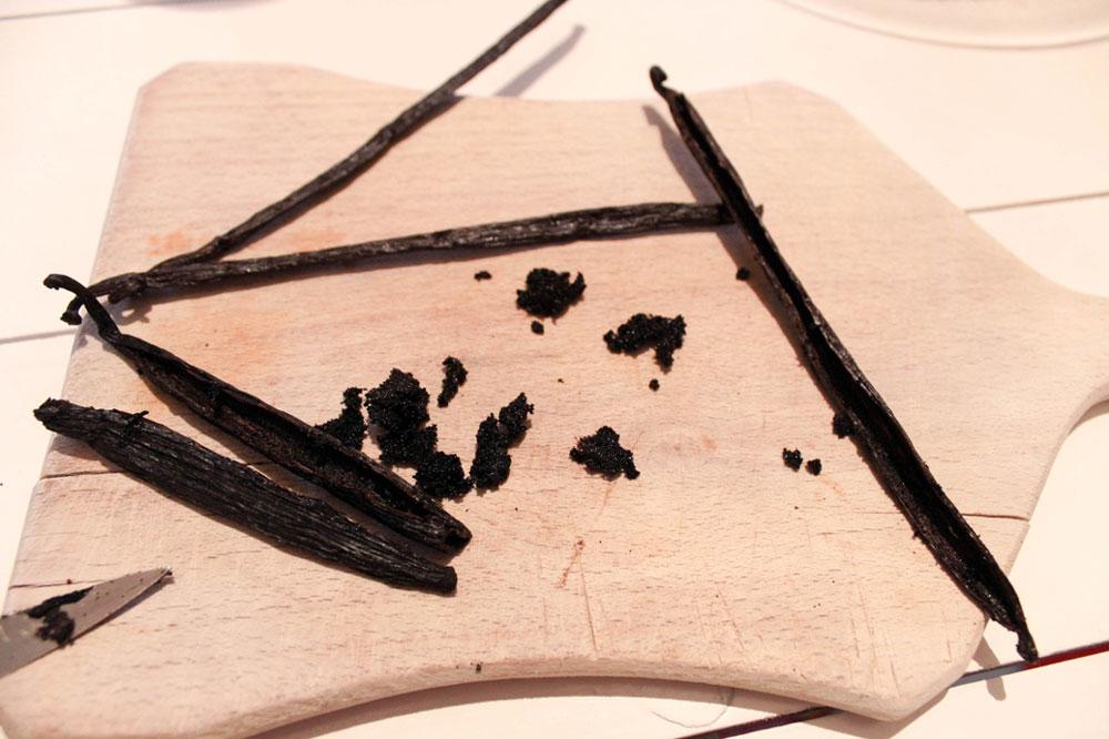 Vanilla beans cut into halves