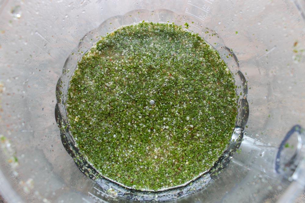 Garlic, parsley and orange juice mixture