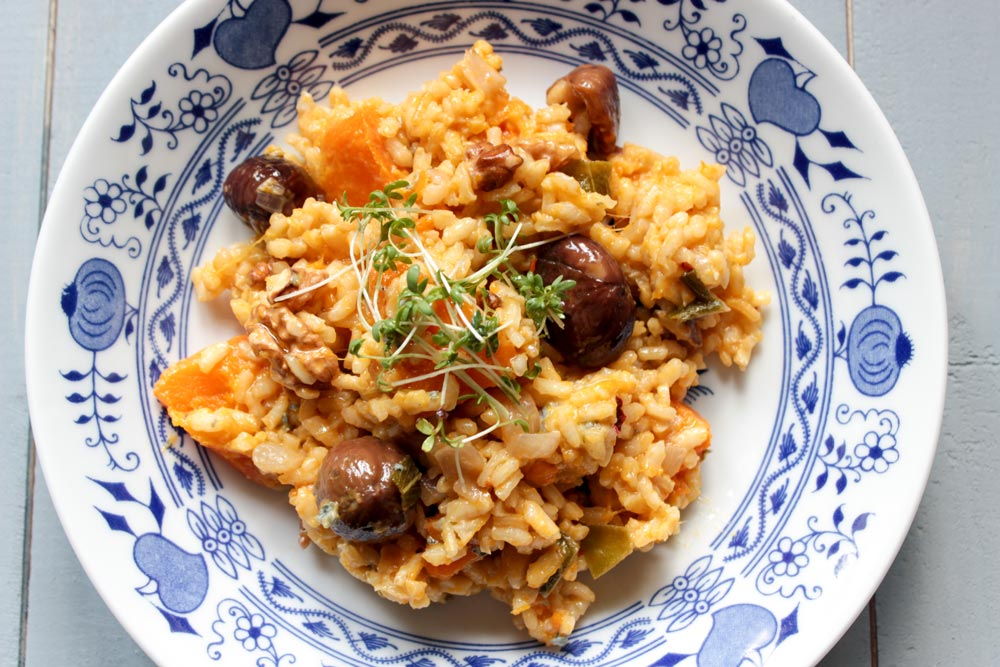 Autumn risotto with butternut squash, chestnuts and gorgonzola