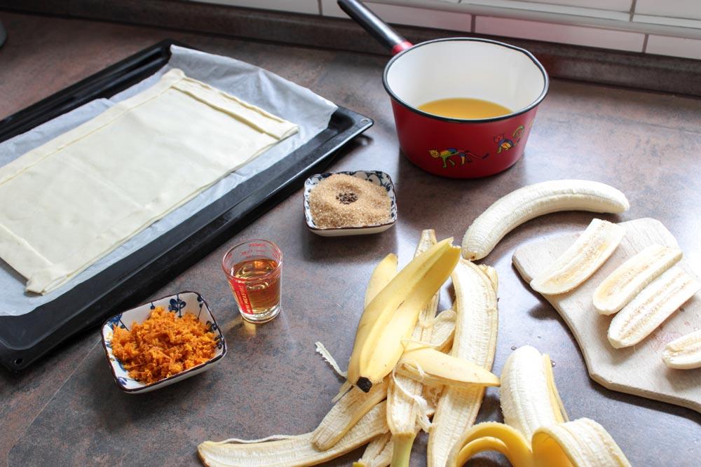 Cesto, banány a pomarančová kôra