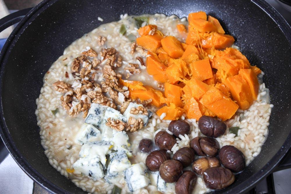 Tekvica, gorgonzola, gaštany a orechy