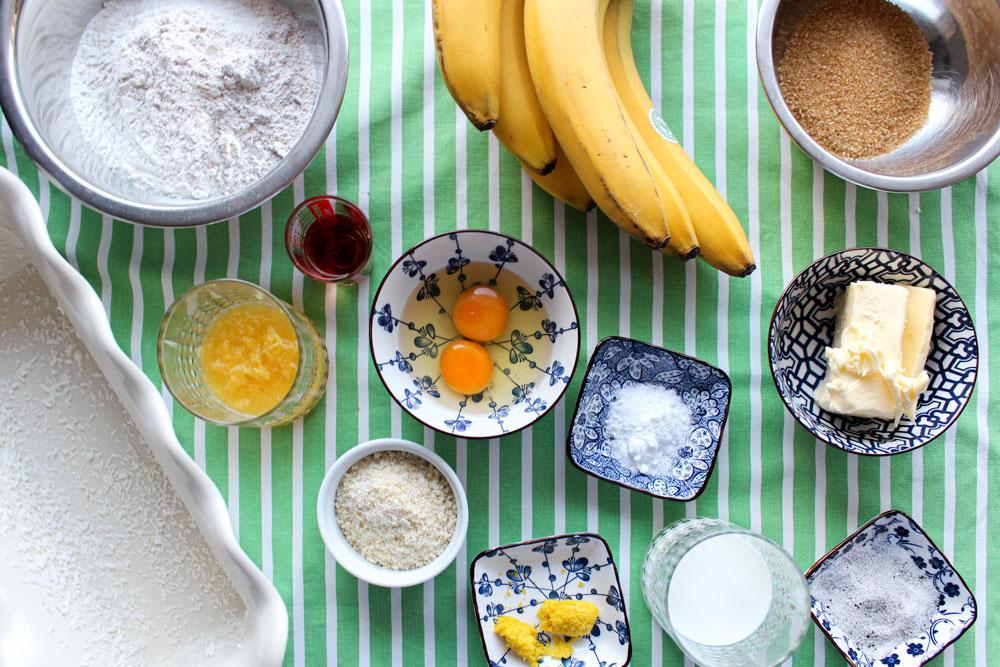 Suroviny na bananovo-pomarančový chlieb