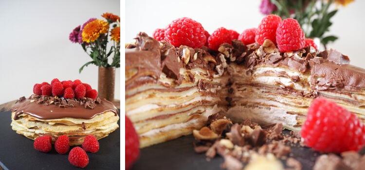 Pandekagelagkage med chokoladecreme