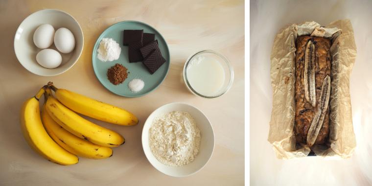 Bananbrød med chokoladebrød